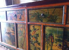Chinese painted sideboard, instore right now Painted Sideboard, Buffet, Chinese, Storage, Furniture, Home Decor, Purse Storage, Painted Buffet, Decoration Home
