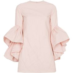 Marques'almeida Mini dress with ruffled sleeves (€810) ❤ liked on Polyvore featuring dresses, pink, flounce sleeve dress, pink dress, mini dress, marques almeida dress and flutter sleeve dress
