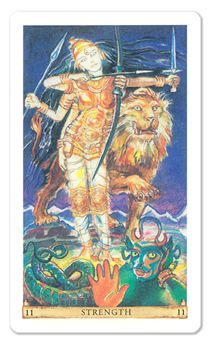 The Strength card from the Sacred India Tarot - the formidable goddess, Durga, in all her splendor!