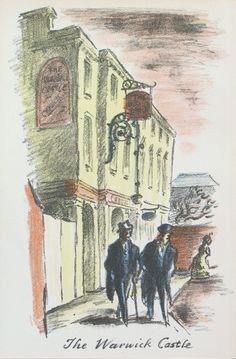 Edward Ardizzone - The Warwick Castle From The Local, a series of lithographs depicting London pubs. Edward Ardizzone, Warwick Castle, London Pubs, The Locals, Weaving, Auction, Colours, Fine Art, Drawings
