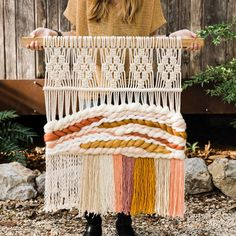Macrame & Woven Wall Hangings Handmade by MossHoundDesigns on Etsy Natural Art = Very rustic, raw, and all above untreated, which means no stains, rus. Paper Lace, Tapestry Weaving, Loom Weaving, Woven Wall Hanging, Handmade Home Decor, Decorating On A Budget, Decoration, Fiber Art, Etsy
