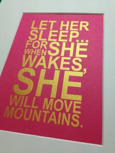 """Baby girl nursery gold quote print """"Let her sleep"""" 5x7 Gold on fuschia pink"""