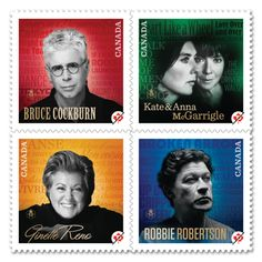The popular Canadian Recording Artists stamp series continues with a tribute to five more of Canada's remarkable musical icons: Kate and Anna McGarrigle, Bruce Cockburn, Robbie Robertson and Ginette Reno. Robbie Robertson, Canada Images, Canada Post, The Great White, Mail Art, Stamp Collecting, My Stamp, Titanic, Rock Music