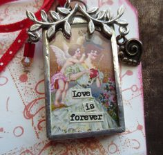 LOVE IS FOREVER Soldered Pendant Two Sided Art by CharmainesWhimzy