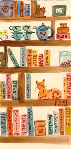 Bookshelf art print © Nancy LEMON (Artist.  Charleston, South Carolina) via her Society6 shop. Bookshelves with books, a cat, a teaset and knickknacks. She has all the essentials covered.  Looking good :-)