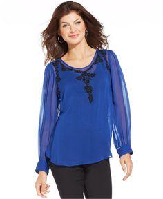 Karen Kane Sheer Embroidered Beaded Top Women - Tops - Macy s. EstiloBlusa  ... d8d3cbecea8bd