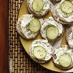 "Cucumber-Rye Tea Sandwiches | Little slices of party rye are a Southern favorite for tea sandwiches: ""You don't see regular rye down here every day,"" Martha Hall Foose says. If party rye isn't available, use a cookie cutter to create rounds from regular bread slices."