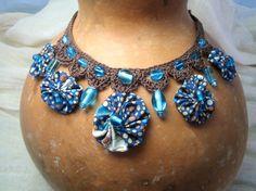 Collar Necklace Adjustable Crochet Beads by BigIslandRoseDesigns, $32.00