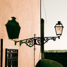 Lisbon photograph (6x6) Antique street light at sunset, Portugal fine art photography