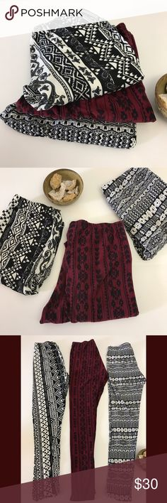 Bundle! 3 printed leggings burgundy black white M This is a bundle of three super soft pairs of leggings in printed patterns. The patterns included geometric, Aztec inspired, and paisley prints. These look great under longer tunics, dresses, and chambray shirts. Tuck them into boots when it's cooler or pair them with sandals as the weather heats up 😎. All of the leggings are size medium and have a good deal of stretch, so can fit a variety of sizes. The softness of these reminds me of…