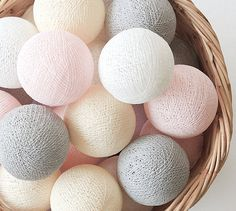 Vintage Pastel Pink Grey Cream White 20 Handmade Cotton Ball Patio Party String Lights – Fairy, Wedding, Holiday, Home Décor on Etsy, ฿333.00
