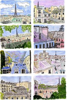 sketching rooftops, quick pen drawings with simple watercolor added... hand made snapshots. love these.