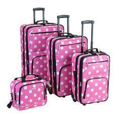 Cut pink polka dot luggage