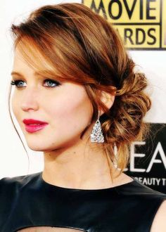 Jennifer-Lawrence-Updo-medium-hairstyle | Best Hairstyles Design - most popular hairstyles