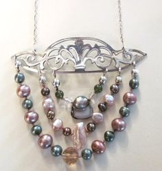 Upcycled silver-plate, sterling silver and freshwater pearl necklace. Formerly, an antique serving platter.