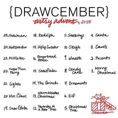 "Drawing Doodles Sketchbooks ""Drawcember Artsy Advent listReady to do this! Xmas Drawing, Christmas Drawing, Daily Drawing, Christmas Art, Drawing Art, 30 Day Drawing Challenge, 30 Day Challenge, December Challenge, Challenge Accepted"