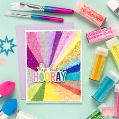 Bea Valint: Card trio with Moxy glitters Glitter Projects, Rainbow Card, My Scrapbook, American Crafts, Cool Cards, Some Fun, I Card, Cardmaking, Arts And Crafts