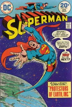Another classic from Nick Cardy as Superman is sucked into the Earth by a space wormhole thingy. And not even grabbing at his own logo can save him.