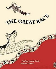 Nathan Kumar Scott retells the simple Indonesian trickster tale, a version of the tortoise and hare story. The traditional craft of illustrator Jagdish Chitara, a Waghari textile artist from Ahmedabad, is painting ritual cloths that celebrate the Mother Goddess in brilliant white, red and black. Review by Paper Tigers.