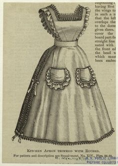 "1871 Kitchen Apron trimmed with ruching. Original source Harper's Bazaar, via NYPL digital gallery; This looks like a ""Haveys' Girl"" apron; Vintage Apron Pattern, Retro Apron, Aprons Vintage, Vintage Sewing Patterns, Victorian Aprons, Victorian Maid, Historical Costume, Historical Clothing, Medieval Clothing"