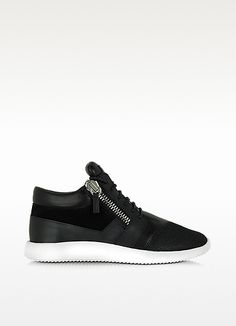GIUSEPPE ZANOTTI Megatron Black Fabric And Leather Sneaker. #giuseppezanotti #shoes #sneakers