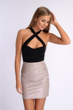 Immie Grey Faux Leather Mini Skirt