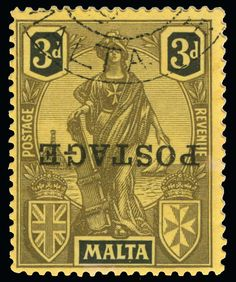 """Philasearch.com - Malta, Scott 122a, SG 149a. 122a (149a) 1926 3d black on yellow Malta Allegory with """"POSTAGE"""" overprint SG Type 25 at Valletta, ERROR - overprint inverted, only 2 sheets printed, used, F-VF  Erhaltung   Anbieter Colonial Stamp Company  Saalauktion Ausruf: 300.00 US$ (ca. 238 EUR)"""