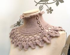 Crochet Neckwarmer / Collar with turtleneck ruffle by ixela