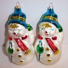 German Christmas Tree Ornament Snowman Glass Figural Xmas Holiday Snowmen