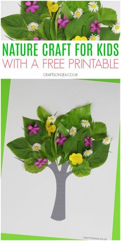 nature craft for kids easy spring summer free printable kidscrafts kidsactivities naturecrafts freeprintable Kids Crafts, Spring Crafts For Kids, Tree Crafts, Toddler Crafts, Preschool Crafts, Projects For Kids, Diy And Crafts, Easy Crafts, Garden Projects