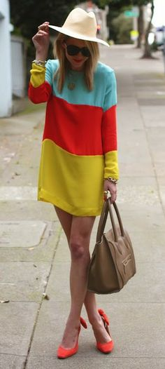 color blocked shift dress.