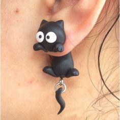 Swing Tail Neko Earrings $9.37 http://thingsfromjapan.net/swing-tail-neko-earrings/ #kawaii Japanese fashion #cute Japanese earrings #kawaii cat earrings