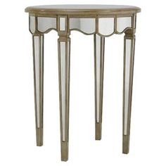 "Mirrored end table with a golden wood frame.Product: End table    Construction Material: Wood and mirrored glass    Finish: Distressed antique gold        Dimensions: 30"" H x 24"" Diameter      Note: Assembly required"