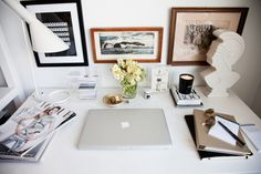 neutral office // black and white desk // laptop