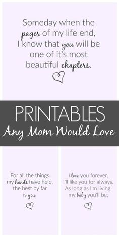 Printables Any Mom Would Love - Perfect for the nursery or bedside table!