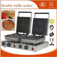515.00$  Buy now - http://ali1dr.worldwells.pw/go.php?t=32725688982 - Restaurant Double heads ice cream cone machine round shape Heart waffle machine