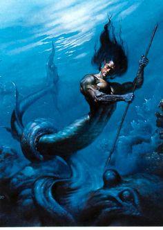 Merman from one of the favorite fantasy artist Boris Vallejo. Mythological Creatures, Fantasy Creatures, Mythical Creatures, Sea Creatures, Boris Vallejo, Greek Gods And Goddesses, Greek And Roman Mythology, Elfen Fantasy, Fantasy Art
