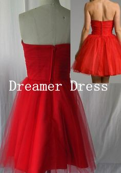 Off Shoulder Ruffle Red Prom Dress Short by SuperDressFactory
