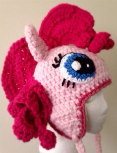 .Handcrafted My Little Pony Inspired Beanie Pinkie Pie She is made with Chunky/Bulky yarn and completed with earflaps and braids. She is ready for