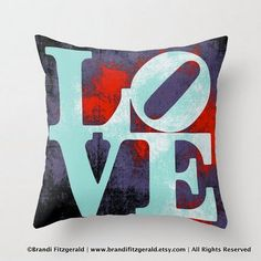 Love Park Sign Throw PIllow Typography Modern by BrandiFitzgerald, $34.99