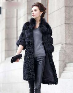 2015 Real Fox and Lamb Fur Patchwork Fur Coat