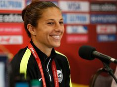 U.S. midfielder Carli Lloyd speaks to the media before training in preparation for the 2015 women´s soccer World Cup at Winnipeg Stadium. (USA TODAY Sports Images)