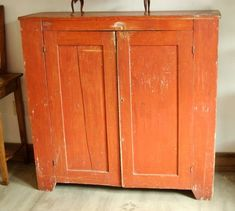 LOVE this color!, 1800s Primitive Farmhouse Painted Jelly Cabinet Cupboard Cabinet, Pie Safe