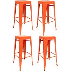 Set of 4 - Hartleys Tall Metal Industrial Design Stools - Orange: Amazon.co.uk: Kitchen & Home