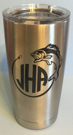 Hooked Fish Personalized DECAL for Yeti Tumbler  With Monogram Initials