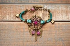 Dreamcatcher Deerskin Leather Bracelet Turquoise Deerskin Dream Catcher Charm Bracelet Star Feather Charms