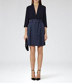 Womens Slate Box-pleat Skirt - Reiss Hackney
