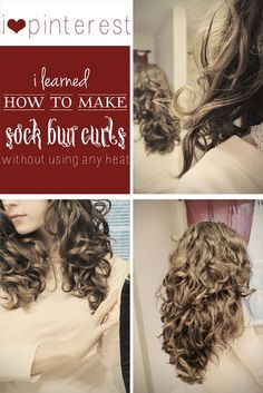Sock Bun Curls - this totally works! I have medium length, fine, layered hair. Tried it last night. The bun was a little messy so I put another sock over it to hold it together. Went to sleep and woke up with beautiful curls!
