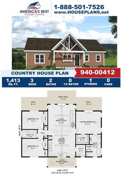 If you love the Country design, you'll love Plan 940-00412! This Country design offers 1,413 sq. ft., 3 bedrooms, 2 bathrooms, a covered porch, a vaulted great room and a large walk in closet. Get more details about this plan on our website. Country House Plans, Best House Plans, Electrical Layout, Floor Plan Drawing, Stair Detail, Dormer Windows, Construction Cost, House Stairs, Build Your Dream Home