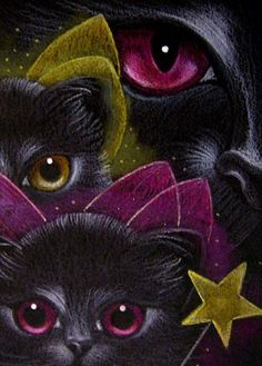 """Black Cat and Fairy Kittens"" par Cyra R. Cancel"